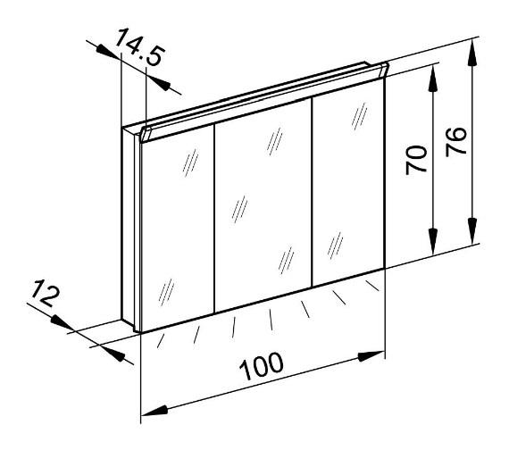 Technical drawing QS-V79800 / PAL 100/3/LED