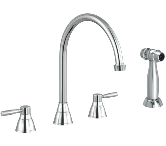 Abode Brompton Chrome 3 Hole Kitchen Mixer Tap With Handspray