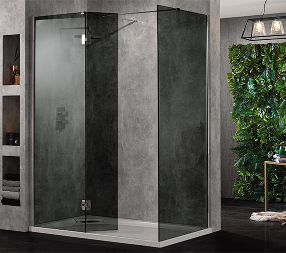 Aquadart Wetroom 10 Walk In 700mm Smoked Glass Shower