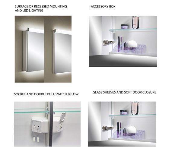 Additional image of Schneider Paliline 2 Door Mirror Cabinet With LED Light 1000mm