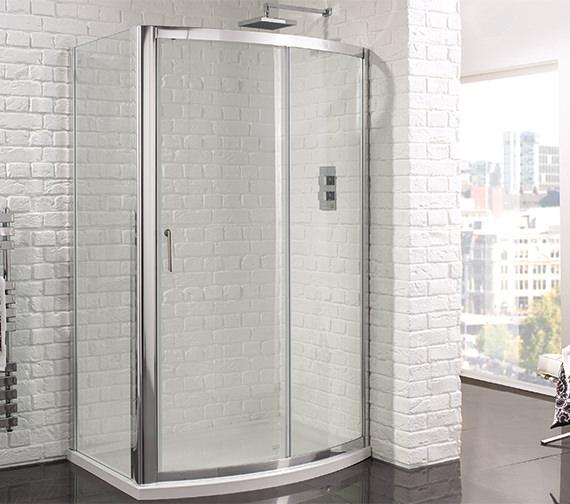 Beta Heat Electric 1150 X 600mm Curved Chrome Heated Towel: Aquadart Venturi 6 1200mm Bow Fronted Sliding Shower Door