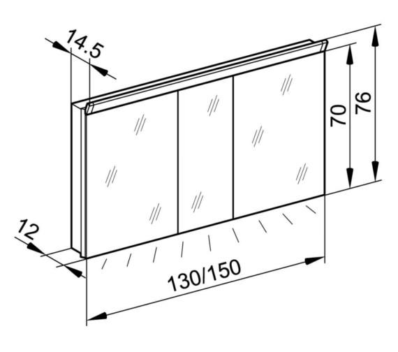 Technical drawing QS-V87001 / PAL 130/3/LED