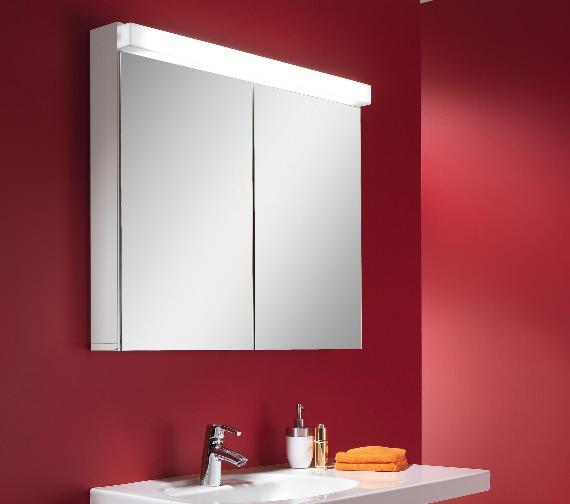 Alternate image of Schneider Lowline 90cm 2 Door Mirror Cabinet With LED Light