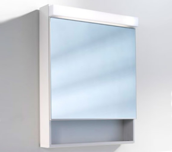 Schneider Lowline 60cm 1 Door Mirror Cabinet With Open Shelf Below