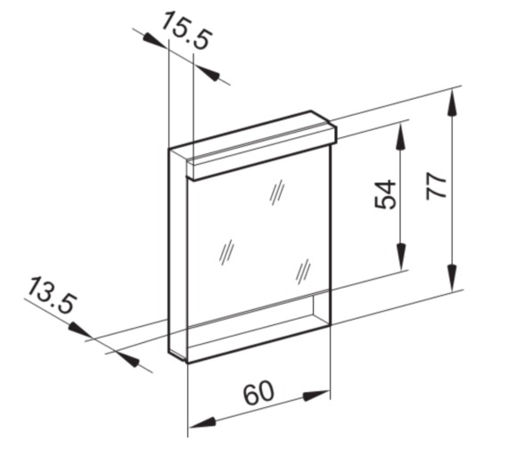 Schneider Lowline 60cm 1 Door Mirror Cabinet With Open Shelf Below