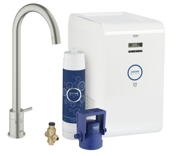 Grohe Blue Mono Single Lever Kitchen Sink Mixer Tap With Starter Kit Supersteel