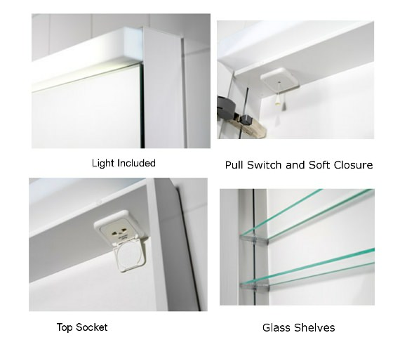 Additional image of Schneider Lowline 60cm 2 Door Mirror Cabinet With LED Light