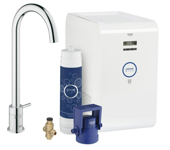 Grohe Blue Mono Single Lever Kitchen Sink Mixer Tap With Starter Kit Chrome