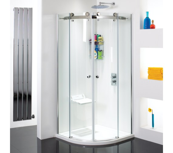 Phoenix Motion Frame-less Twin Slide Door Shower Quadrant 900mm-SE082