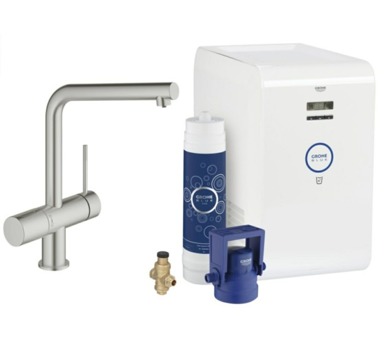 Grohe Blue Minta Chilled Kitchen Sink Mixer Tap With Starter Kit Supersteel