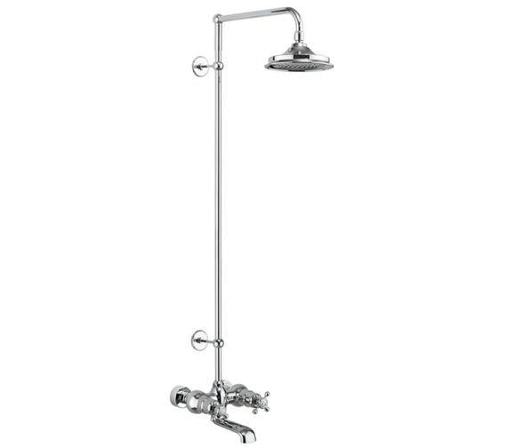 Burlington Tay Wall Mounted Thermostatic Bath Shower Mixer With Rigid Riser