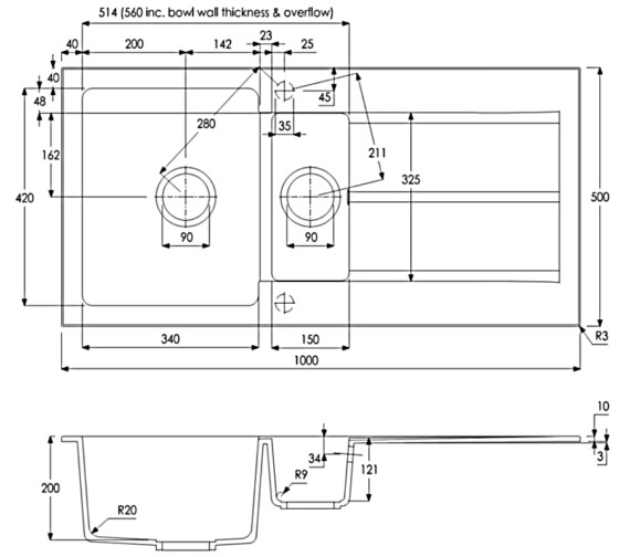 Technical drawing QS-V8270 / AW3106