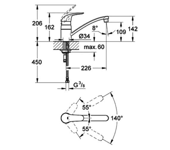 Technical drawing QS-V6845 / 32750000