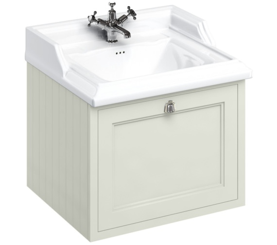Burlington Wall Hung 650mm Sand Drawer Unit With Classic Basin