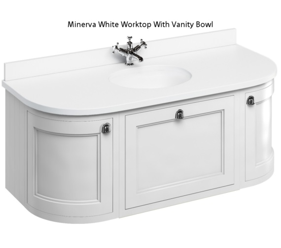 Burlington 1340mm Matt White Curved Wall Hung Unit With Worktop And Basin
