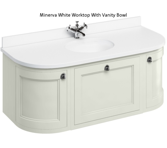 Burlington 1340mm Sand Curved Wall Hung Unit With Worktop And Basin