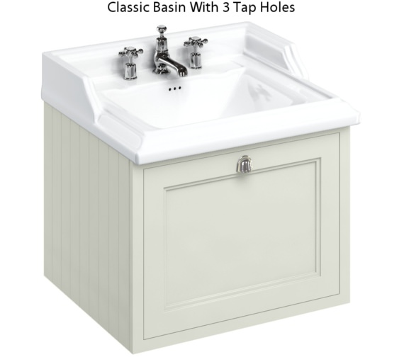 Additional image of Burlington Wall Hung 650mm Sand Drawer Unit With Classic Basin