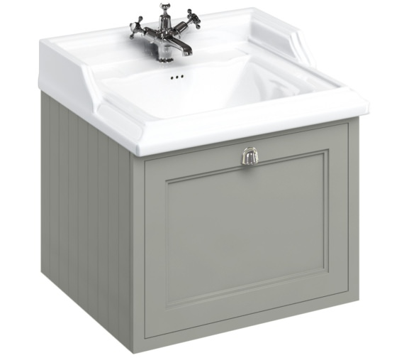 Burlington Wall Hung 650mm Dark Olive Drawer Unit With Classic Basin