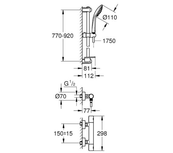 Technical drawing QS-V81832 / 34321002