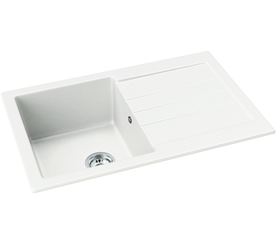 Abode Xcite 1.0 Bowl Frost White Granite Kitchen Sink With Drainer