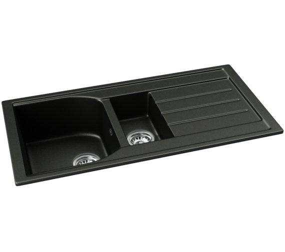 Abode Oriel 1.5 Bowl Kitchen Sink With Drainer - Black Granite