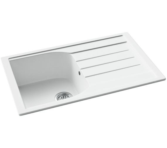 Abode Oriel 1.0 Bowl Frost White Granite Kitchen Sink With Drainer