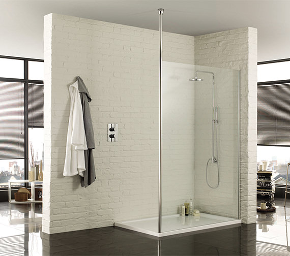 Aquadart Wetroom 8 Walk-In 1000mm Shower Panel With Ceiling Post