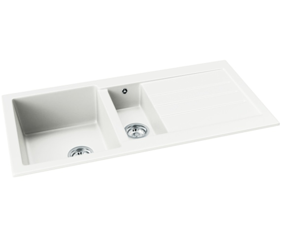 Abode Xcite 1.5 Bowl Frost White Granite Kitchen Sink With Drainer