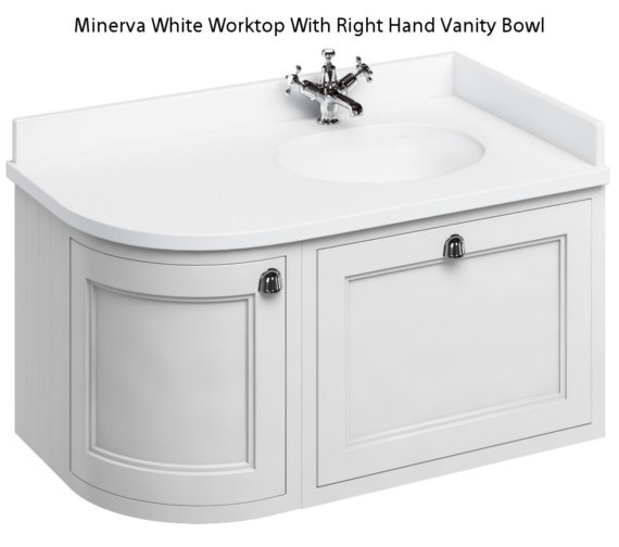 Burlington 1000mm Matt White Wall Hung Right Hand Curved Vanity Unit