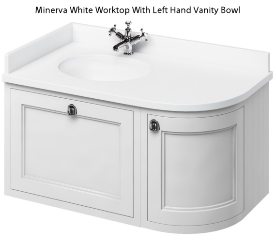 Burlington 1000mm Wall Hung Left Hand Curved Vanity Unit Matt White With Worktop And Basin
