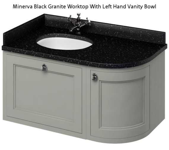 Additional image of Burlington 1000mm Dark Olive Wall Hung Left Hand Curved Vanity Unit