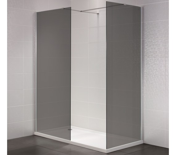 April Identiti2 800mm x 1950mm Wetroom Smoked Glass Panel