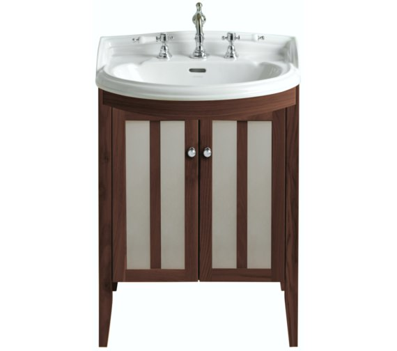 Heritage Hidcote Freestanding Bowfront Medium Walnut Vanity Unit