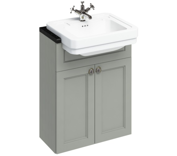 Burlington 600mm Dark Olive Double Door Unit With Semi Recessed Basin