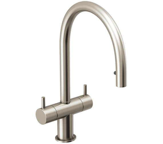Abode Hesta Brushed Nickel Pull Out Kitchen Mixer Tap