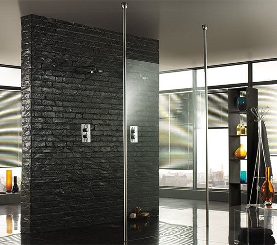 Aquadart Wetroom 8 Walk-Through 1000mm Shower Panel With Ceiling Posts