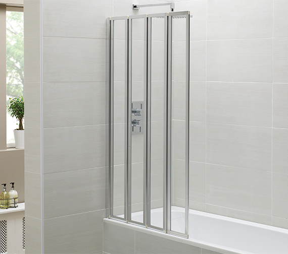 April Identiti2 800 x 1400mm 4 Fold Bath Screen