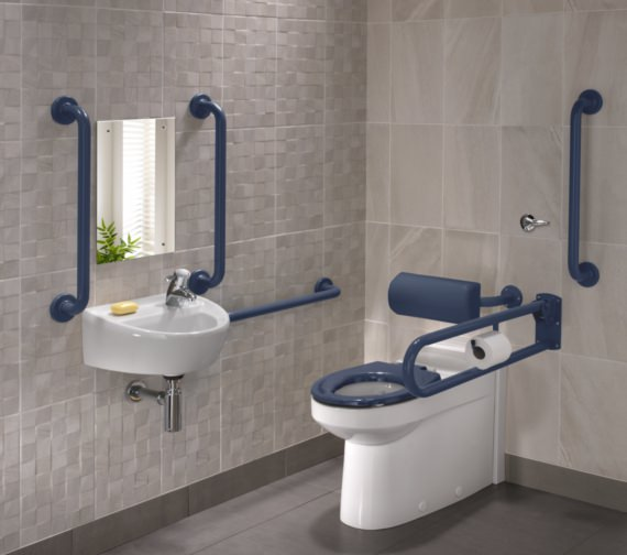 Twyford Doc.M Rimless BTW WC Pack With Blue Grab Rails And Seat