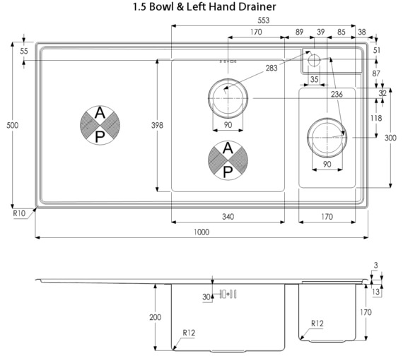 Technical drawing QS-V39196 / AW5030