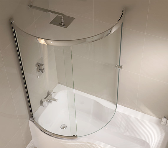 April Prestige 984 x 1500mm P Shaped Sliding Bath Screen