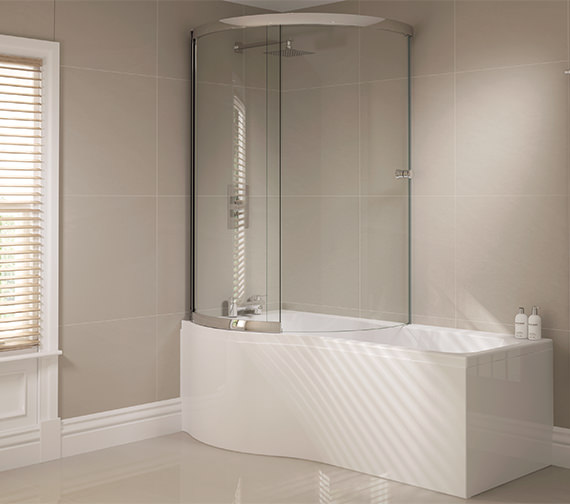 Alternate image of April Prestige 984 x 1500mm P Shaped Sliding Bath Screen