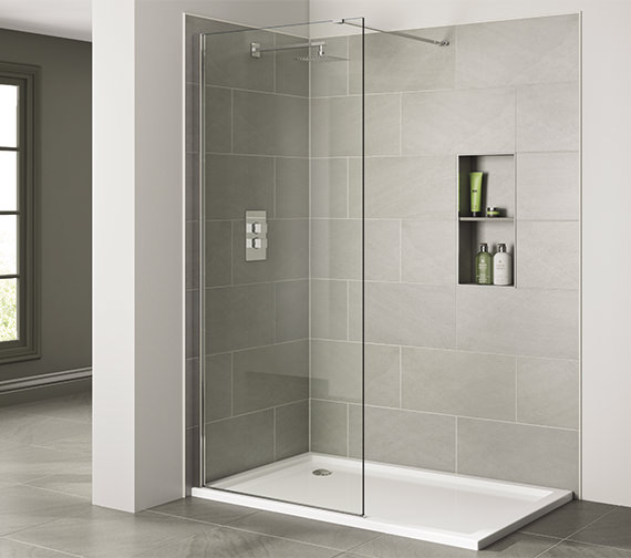 April Prestige Frameless 1400mm x 2000mm Wetroom Clear Glass Panel