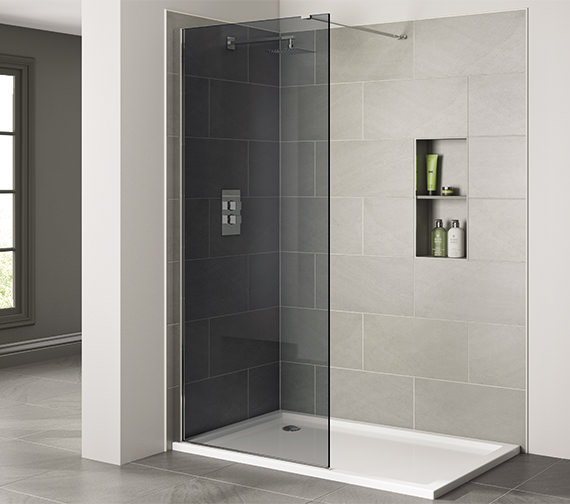 April Prestige Frameless 1100mm x 2000mm Wetroom Smoked Glass Panel