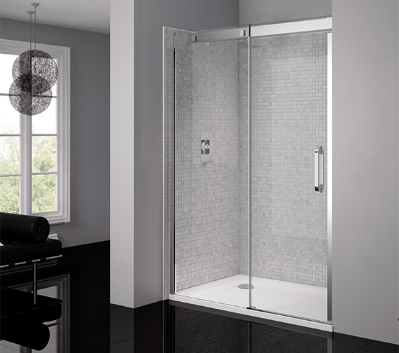 April Prestige Frameless 1400mm Clear - Silver Sliding Shower Door