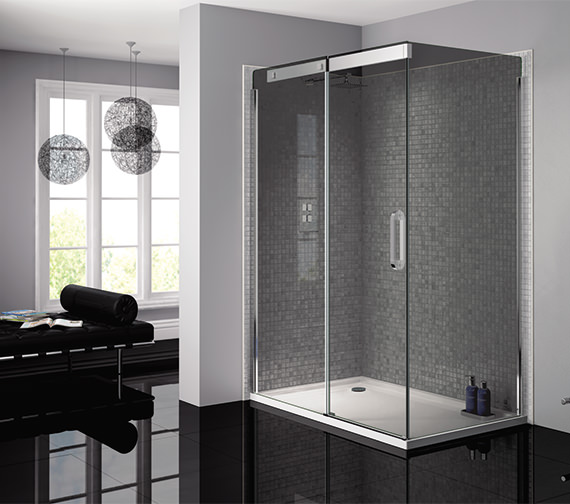 Alternate image of April Prestige Frameless 900mm Smoked - Silver Side Panel For Shower Enclosure