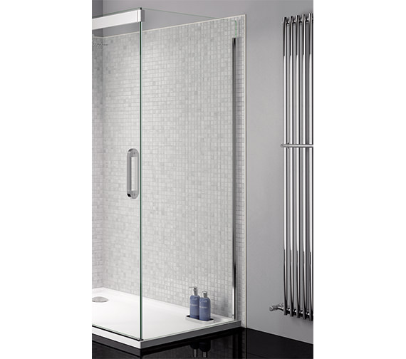 April Prestige Clear Glass 760mm Wide Side Panel With Silver Profile
