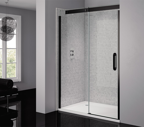 April Prestige Frameless 1200mm Clear - Black Sliding Shower Door