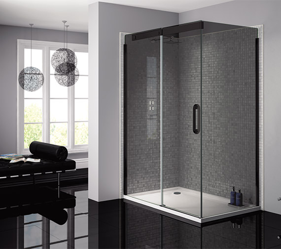 Alternate image of April Prestige Frameless 900mm Smoked - Black Side Panel For Shower Enclosure