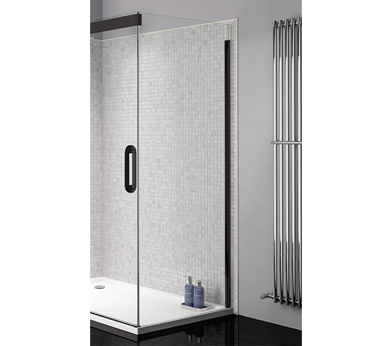 April Prestige Clear Glass 760mm Wide Side Panel With Black ProfileOptional