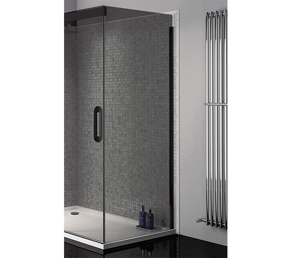 April Prestige Smoked Glass 760mm Wide Side Panel With Black Profile -